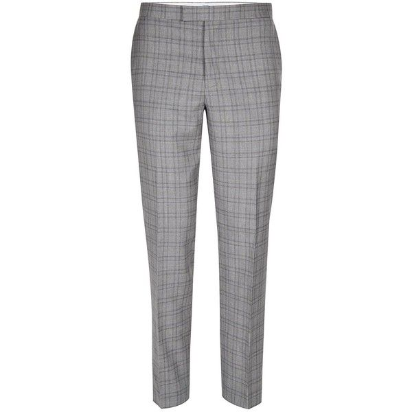 Charlie CASELY-Hayford X Topman Light Grey Check Skinny Wedding Suit... (255 BRL) ❤ liked on Polyvore featuring men's fashion, men's clothing, men's pants, men's dress pants, grey, mens skinny pants, mens adjustable waist dress pants, mens lined pants, mens striped dress pants and mens light grey dress pants