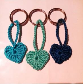Heart keychains and hairpins - quick crochet project.