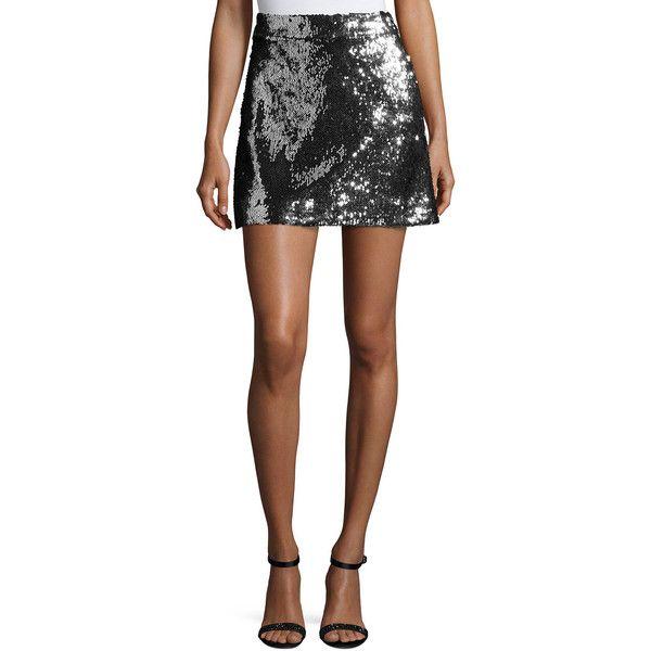 Milly Sequined Modern Miniskirt ($250) ❤ liked on Polyvore featuring skirts, mini skirts, mini skirt, sequin skirts, sequin mini skirt, mid thigh skirts and a-line skirt