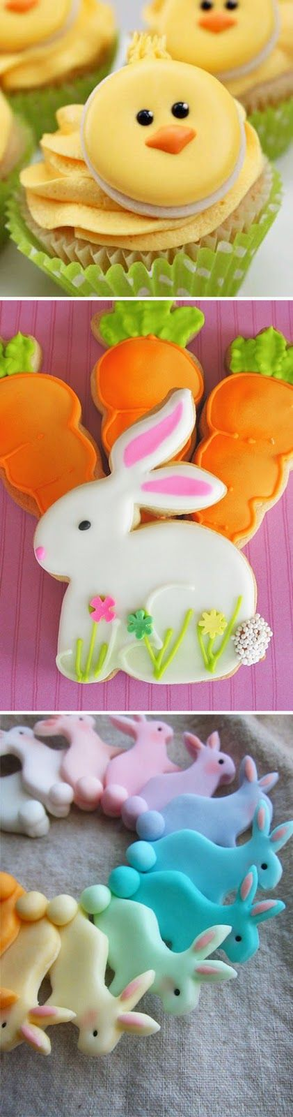 Chick Cupcake   //   Bunny Cookies   //    Rainbow Bunny Cookies    I found these beautiful, Easter and Spring-Inspired Treats on this boar...