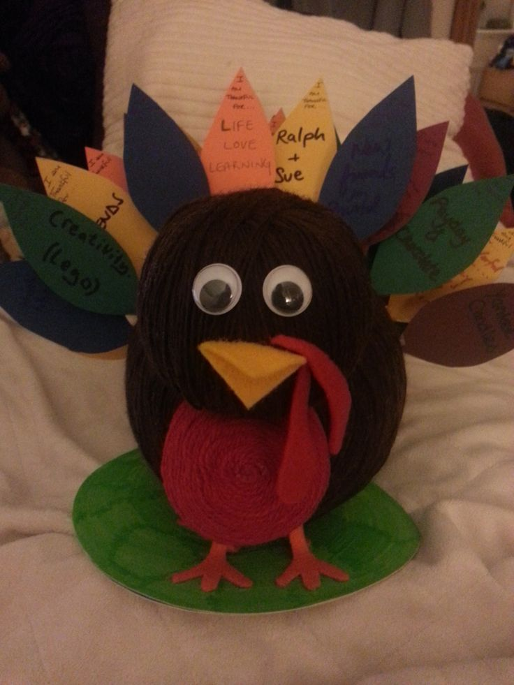 Our 2013 Thanksgiving Turkey Table Centrepiece - great for kids. Polystyrene balls wrapped in wool, felt beak, nose and feet. Coloured Feathers cut from card with cocktail sticks attached -  on the feathers, each guest writes what they are Thankful for and sticks it in the turkey!