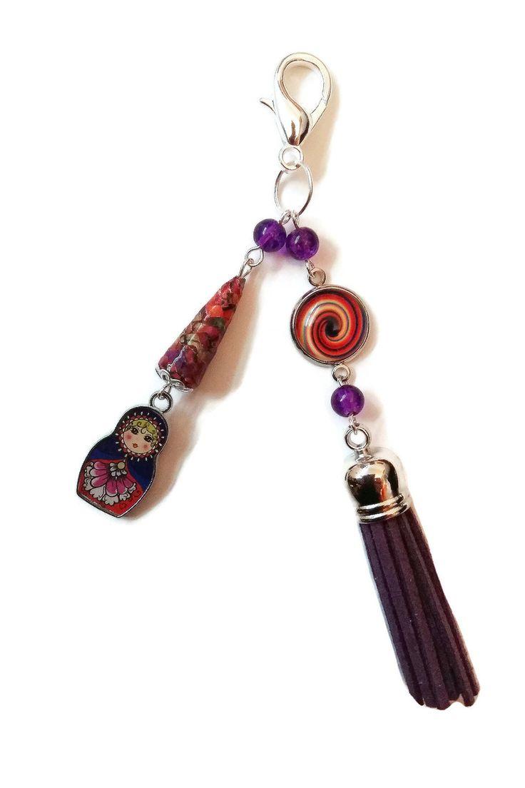 Bijou de Sac Poupées Russes Matriochkas - Pompon - Cabochon - Perles en Papier - Perles en Verre - Multicolore - Violet - Orange : Autres bijoux par cap-and-pap