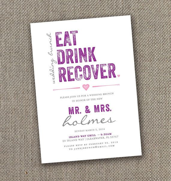 Eat Drink Recover - Wedding Brunch Invitation (Digital file) Funny ...