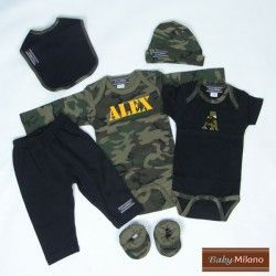 Personalized Camo Baby Clothes Gift Set - 6 PC | Baby Milano Personalized, at babymilano.com