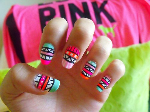 Tribal mani: Nails Art, Nailart, Awesome Nails, Nails Design, Summer Nails, Nails Ideas, Tribal Nails, Tribal Prints Nails, Aztec Nails