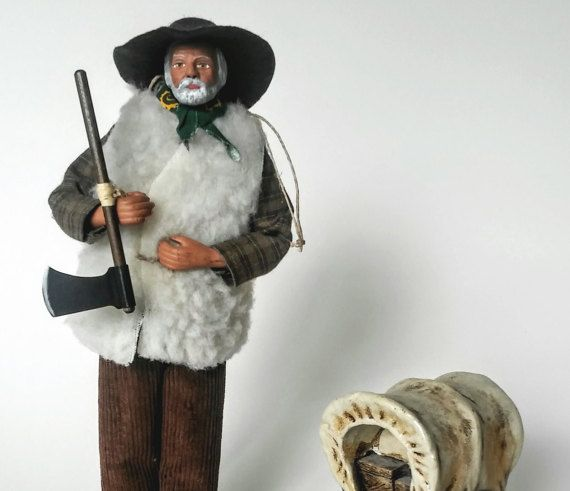 Cowboy Statue Resin with Covered Wagon  by WestmoonVintages