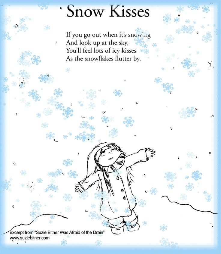 Snow Kisses! Poem Children's poem for winter. Great for school!