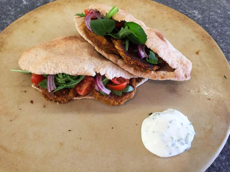 Sundried Tomato Falafel - A twist on the classic with a delicious added sweetness! Served with a mint yoghurt dip.