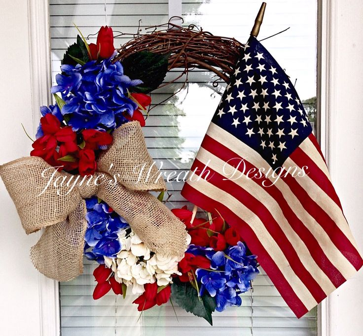 Patriotic Grapevine Wreath with Blue & White Hydrangeas, Red Tulips, Burlap Bow, and American Flag.   4th of July Wreath. Memorial Day Wreath.  Decorating. Home Decor.