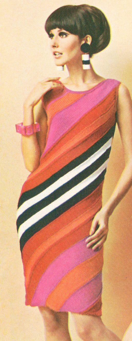 Vintage 1960s Diagonal Angle Stripe Dress MOD Knitting Pattern PDF