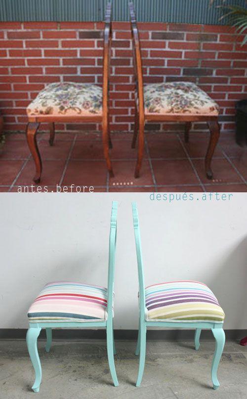 VINTAGE & CHIC: decoración vintage para tu casa [] vintage home decor: Tutorial: cómo dar nuevo aire a unas sillas antiguas [] Tutorial: chairs makeover