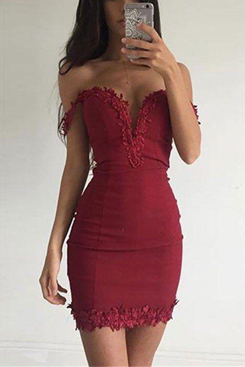 Burgundy Plunge Off The Shoulder Mini Dress with Lace Details - US$19.95 -YOINS