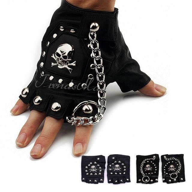 Полиуретан кожа череп панк черный вождения мотоцикл байкер без пальцев тактические перчатки женщин людей перчатки подарок для UGM03