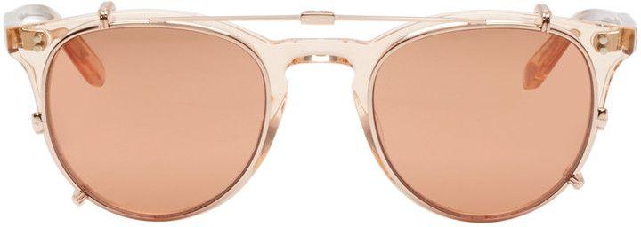 Garrett Leight Rose Gold Milwood Clip-On Sunglasses