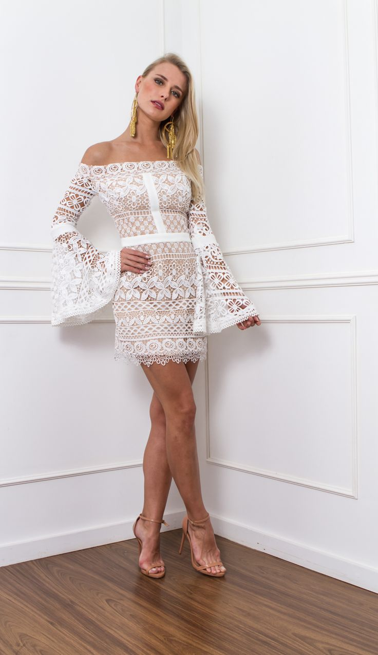 VESTIDO RENDA MANGA FLARE  - VE21975-HA | Skazi, Moda feminina, roupa casual, vestidos, saias, mulher moderna