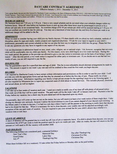 76 best Sarah images on Pinterest Daycare contract, Daycare ideas - sample contractor agreement
