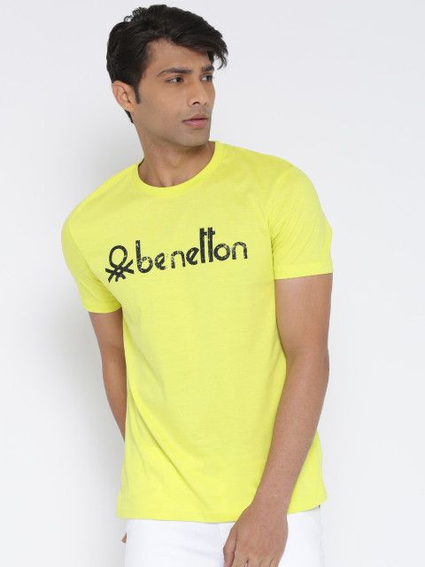 c7930f98e28 Buy United Colors Of Benetton Men Lime Green Printed Round Neck T Shirt -  Tshirts for Men 1780773