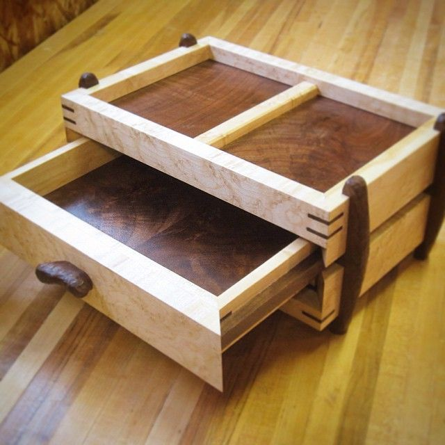 The men's valet has a main drawer on the front. #maple #walnut #woodworking