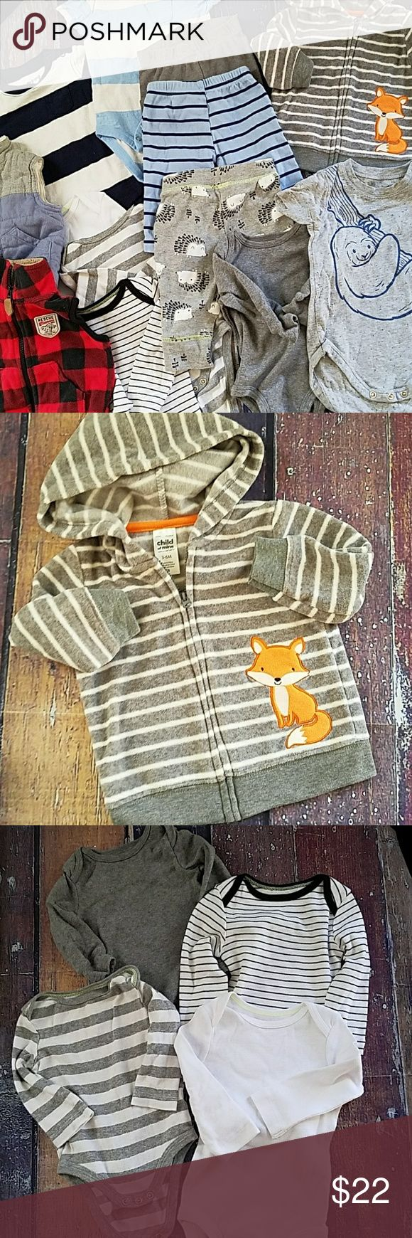 13 Pieces lot bundle fox sloth lumberjack hedgehog BABY BOY LOT All are sizes 0-3 Months or 3 Months Includes 13 Pieces Total My son outgrew before he could wear them! BRAND NEW without tags. Carter's, Jumping Bean, Cat & Jack Carter's Matching Sets