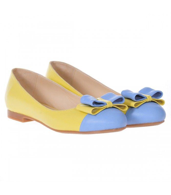 Balerini Dama Piele Naturala Bleu - Galben - Cod L30