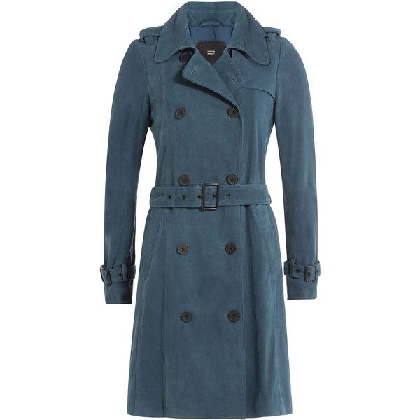 Steffen Schraut Suede Trench Coat ($785) ❤ liked on Polyvore featuring outerwear, coats, blue, suede leather coat, trench coat, double breasted coat, slim coat and suede coat