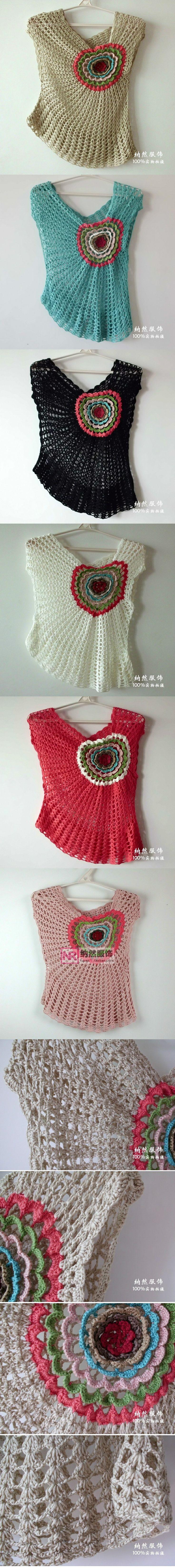 Blusa de verão assimétrica em crochê - photos of crochet tops - Japanese (?) site; many more interesting tops like this on the site