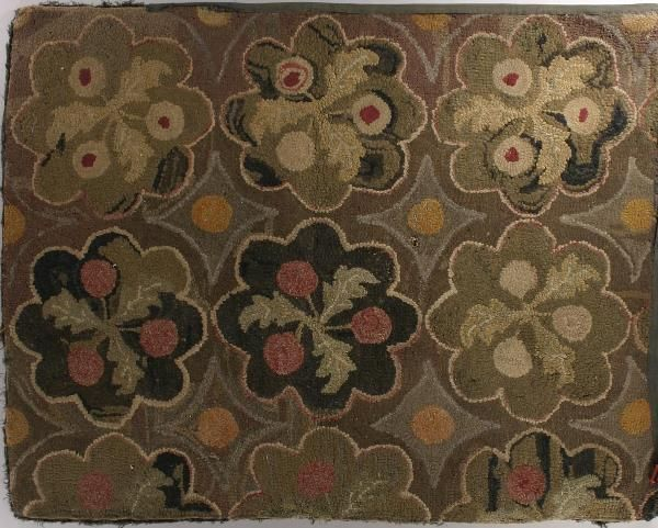 259: Two American Hooked Rugs, 1: Thistle Floral Medal : Lot 259
