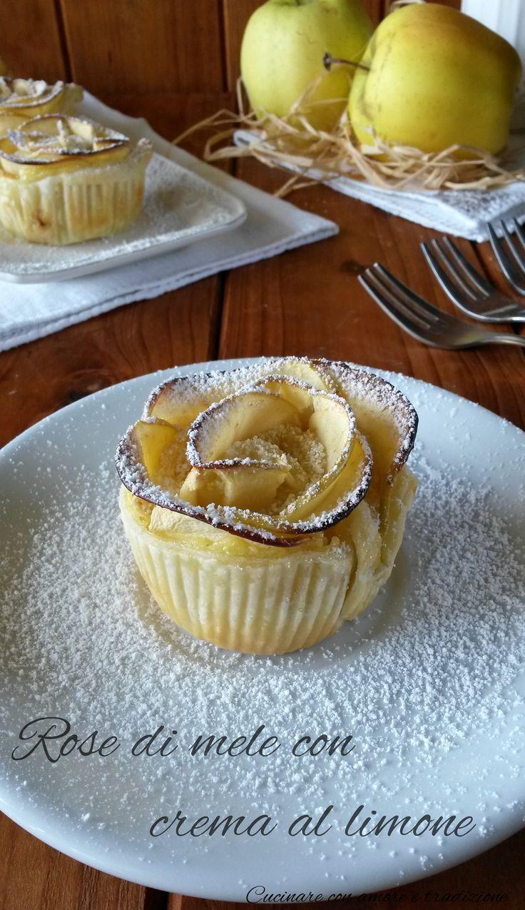 Rose di mele con crema al limone: – 1 rotolo di pasta sfoglia pronto – 2 mele – zucchero a velo – acqua q.b. – succo di 1/2 limone  Ingredienti per la crema al limone – 250 ml di latte – 2 tuorli d'uovo – 75 g di zucchero – 30 g di farina – la scorza grattugiata di mezzo limone non trattato