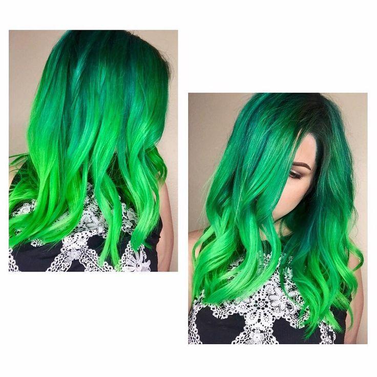 dark and light green neon hair