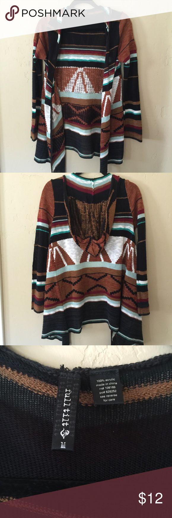 Print Black Cardigan Tribal print black and multi color cardigan. Super cozy. Sweaters Cardigans