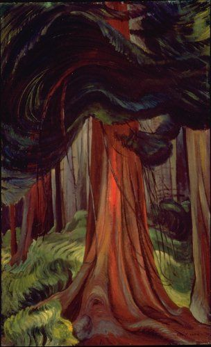 Artist Emily Carr - The Red Cedar, oil, 1933, 111.0 x 68.5 cm. Location: Vancouver Art Gallery, VAG 5.4.7. © Vancouver Art Gallery