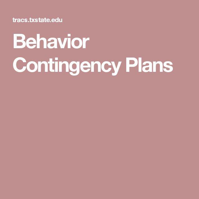 Behavior Contingency Plans