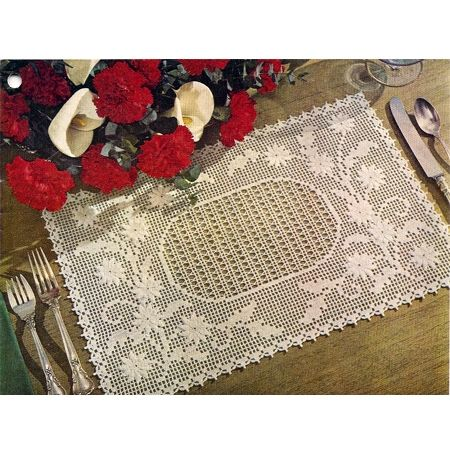 Filet Crochet Embossed Daisy Placemat Pattern