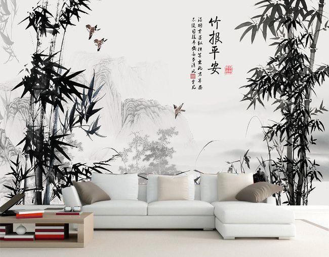 19 best papier peint tapisserie asiatique les bambous. Black Bedroom Furniture Sets. Home Design Ideas