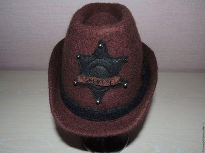 Банные принадлежности ручной работы. Ярмарка Мастеров - ручная работа. Купить Банная шапка. Шериф. Handmade. Коричневый, шапка для сауны