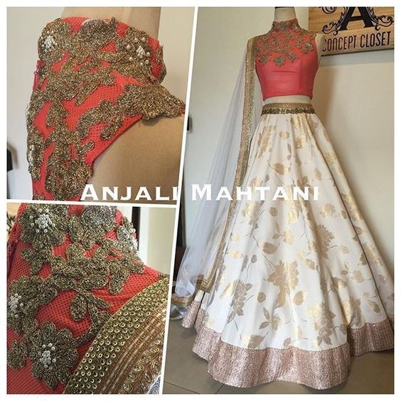 Coral High Collar Top with Gold Embroidery and White Lehenga Choli, via @sunjayjk