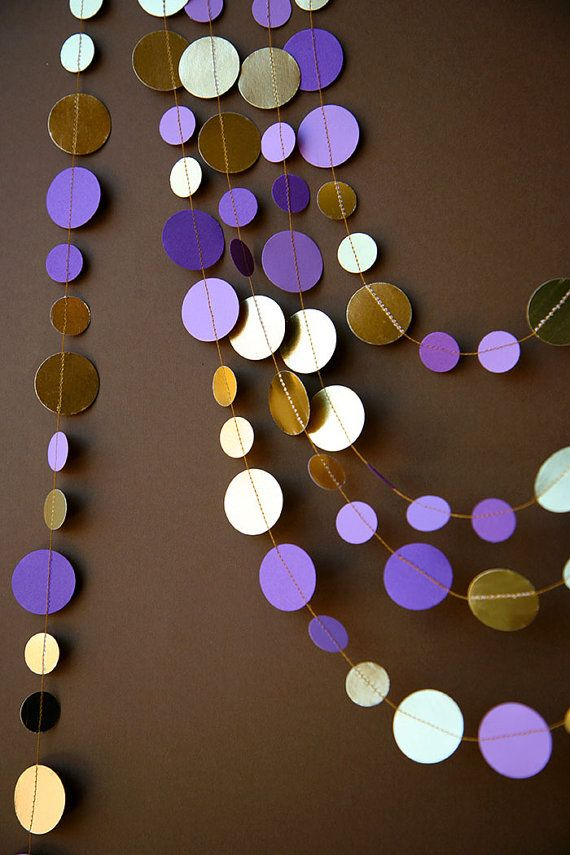 Wedding decorations, Wedding garland, Bridal shower decor, Purple and gold garland, Shimmer garland, Paper garland, Metallic garland  The final touch for your decoration.  Looks great on or around your table, hanging in the wall, the door, the window, the shelves... or hung them with tape from the ceiling! With the required security cautions you can hang them from lamps and make a beautiful circles cascade.  An inexpensive way to decorate! ***PLEASE READ CAREFULLY THE ITEM DESCRIPTION. I…