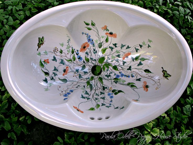 "Hand Painted Sink...  Her name is ""Flutter~Bye"""