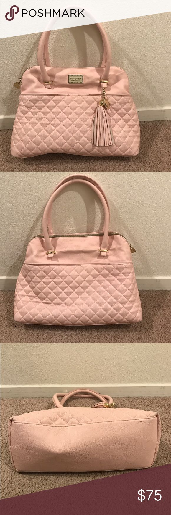 Betsy Johnson Done handbag Lightly used cute pink quilted handbag. Top zip closure. Inside has 2 slip pockets (fits iPhone 6/6s/7 and equivalent phone sizes), 1 zippered pocket. Gold tone hardware. Great bag! Betsey Johnson Bags Satchels