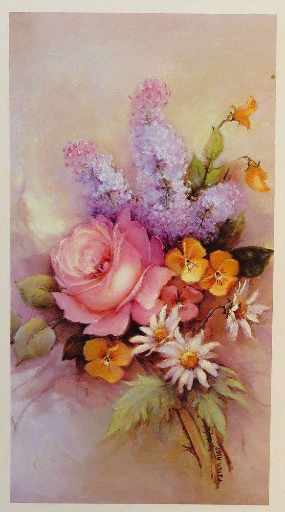 Pink White Magnolias Blue Vase Painting Rosen