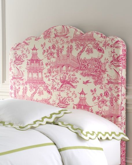 simple bedding with a fun bright headboardRustic Bedrooms, Pink Toile, Little Girls Room, Toile, Toile Headboards, White Beds, Upholstered Headboards, Bedrooms Decor Ideas, Beds Headboards