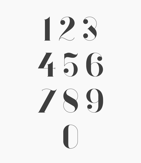 Font Design by Anthony James Beautiful numbers.