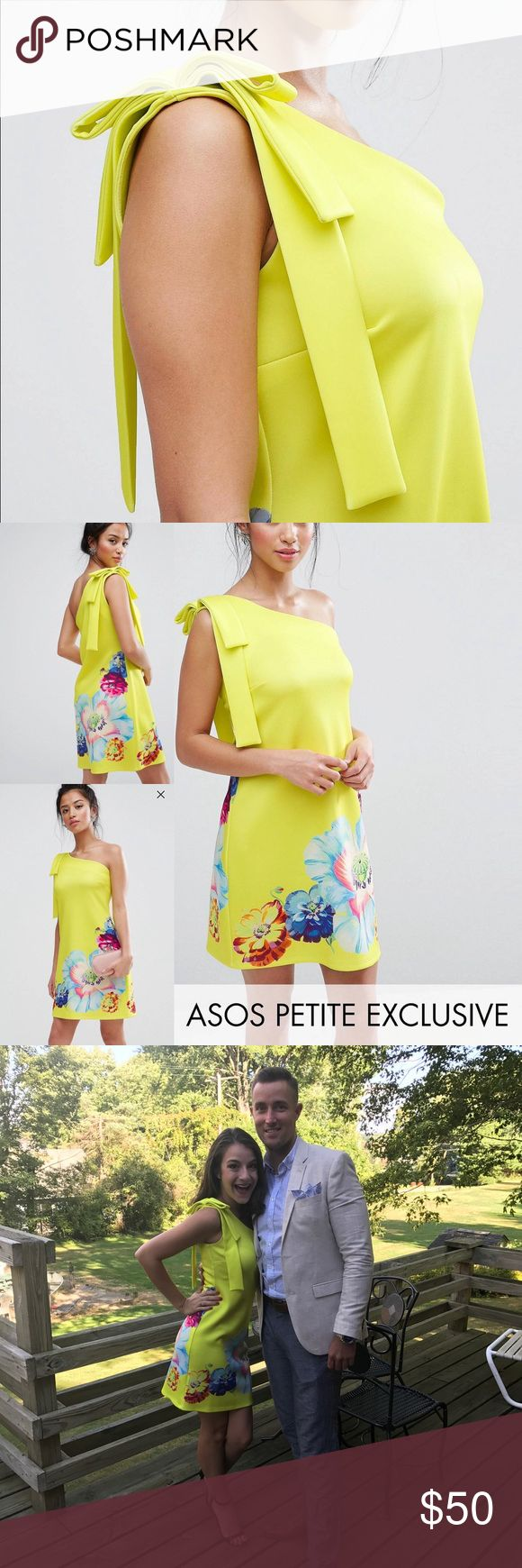 ASOS PETITE Off-The-Shoulder Dress IN LIKE NEW CONDITION! ✨ I've only worn it once to a wedding! ASOS Petite Dresses One Shoulder