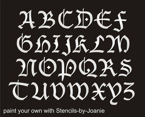 "Stencil Blackletter Gothic Font Alphabet 2"" Capital Letter Set Country Prim Sign | eBay"