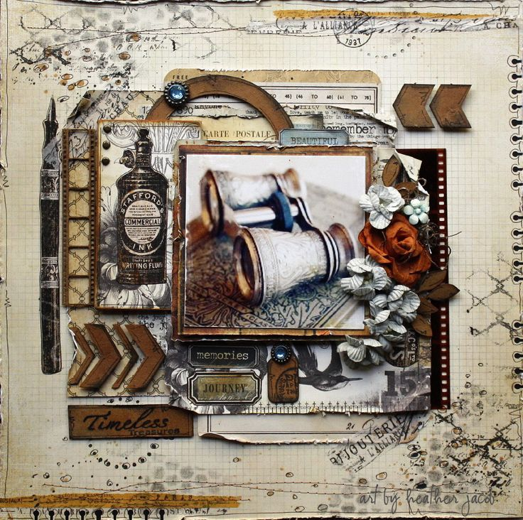 """Heather Jacob as Art and Life for 2 Crafty Chipboard making a vintage layout; """"Timeless""""; June 2013"""
