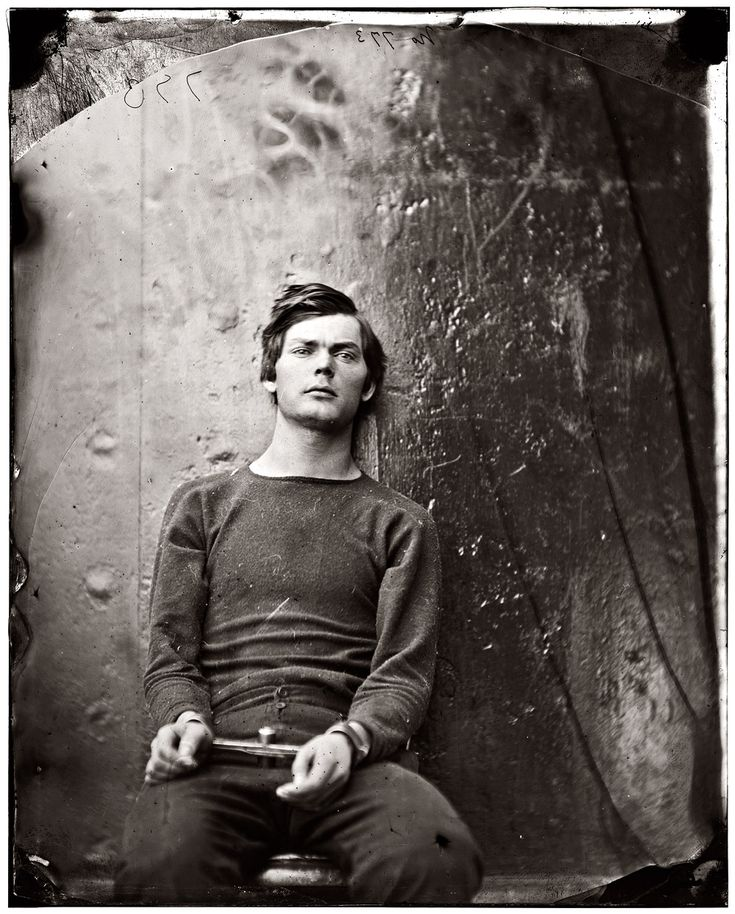 Lewis Payne, seated and manacled, at the Washington Navy Yard about the time of his 21st birthday in April 1865, three months before he was hanged as one of the Lincoln assassination conspirators. View full size. Photograph by Alexander Gardner, probably taken aboard the ironclad U.S.S. Montauk or Saugus.