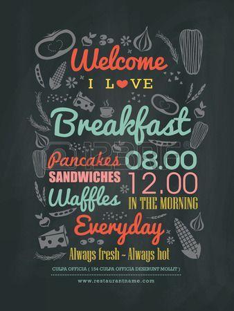 Breakfast cafe Menu Design typography on chalk board vector illustration: