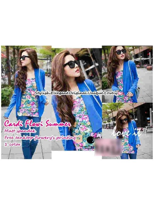 Summer Blue Set Cardigan Flowy JK370-LOCAL Model  042 Condition  New  summer Material Inner spandex printing, LD80-90, Outer spandex all size retail IDR99,000	reseller IDR78,750	wholesaller IDR63,000