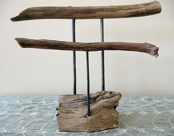Salvaged Driftwood and Copper Jewelry Stand