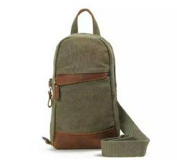 Backpacks and handbags are made of thick canvas with leather accents.